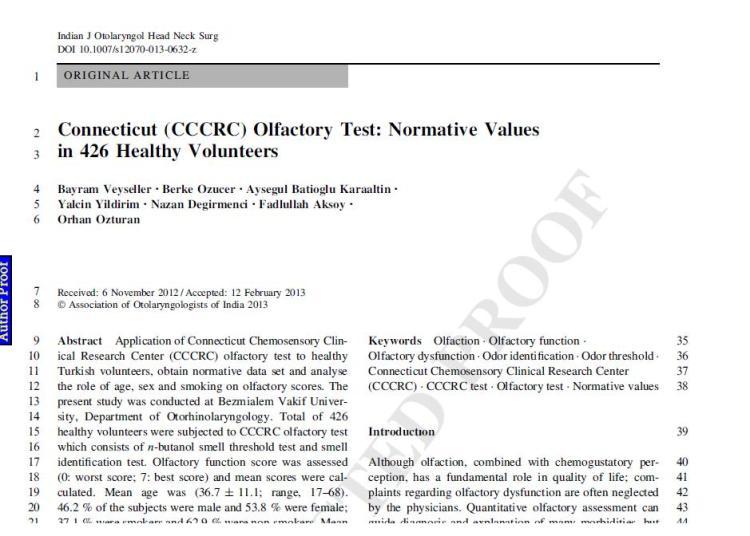 Yeni Yayınımız : CCCRC Koku Testi: 426 Sağlıklı Hastadaki Normatif Değerler